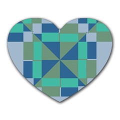 Green Blue Shapes Heart Mousepad by LalyLauraFLM