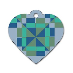 Green Blue Shapes Dog Tag Heart (one Side) by LalyLauraFLM
