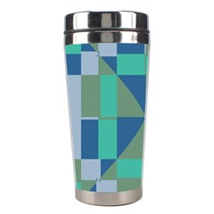 Green Blue Shapes Stainless Steel Travel Tumbler by LalyLauraFLM