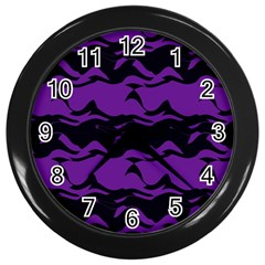 Mauve Black Waves Wall Clock (black) by LalyLauraFLM