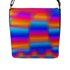 Psychedelic Rainbow Heat Waves Flap Messenger Bag (l)  by KirstenStar
