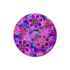 Pretty Floral Painting Rubber Round Coaster (4 pack)  by KirstenStar