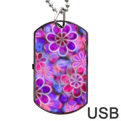 Pretty Floral Painting Dog Tag Usb Flash (two Sides)  by KirstenStar