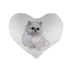White Persian Cat Clipart Standard 16  Premium Heart Shape Cushions by AlteredStates