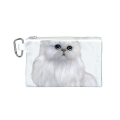 White Persian Cat Clipart Canvas Cosmetic Bag (S) by AlteredStates