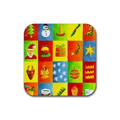 Christmas Things Rubber Square Coaster (4 Pack)  by julienicholls