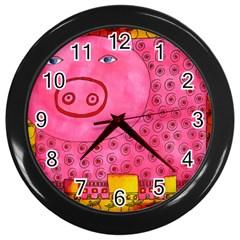 Patterned Pig Wall Clocks (black) by julienicholls