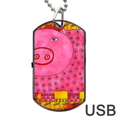 Patterned Pig Dog Tag Usb Flash (two Sides)  by julienicholls