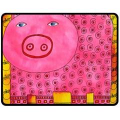 Patterned Pig Double Sided Fleece Blanket (medium)  by julienicholls