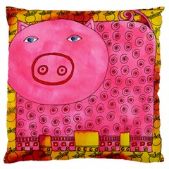 Patterned Pig Large Flano Cushion Cases (two Sides)  by julienicholls