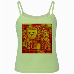 Patterned Lion Green Spaghetti Tanks by julienicholls