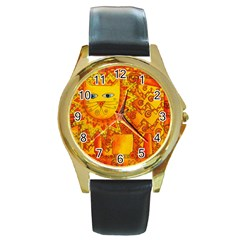 Patterned Lion Round Gold Metal Watches by julienicholls
