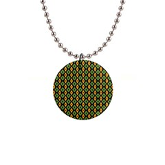 Green Yellow Rhombus Pattern 1  Button Necklace by LalyLauraFLM