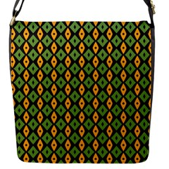 Green Yellow Rhombus Pattern Flap Closure Messenger Bag (s) by LalyLauraFLM