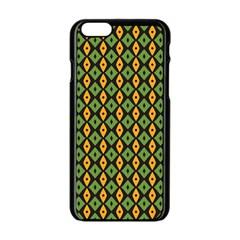 Green Yellow Rhombus Pattern Apple Iphone 6 Black Enamel Case by LalyLauraFLM