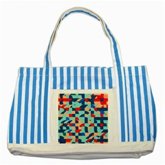 Miscellaneous Shapes Striped Blue Tote Bag by LalyLauraFLM
