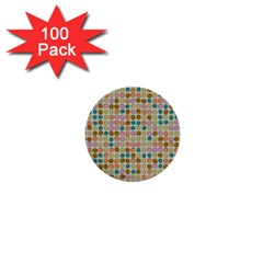 Retro Dots Pattern 1  Mini Button (100 Pack)  by LalyLauraFLM