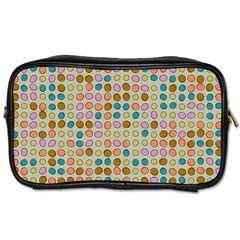Retro Dots Pattern Toiletries Bag (one Side) by LalyLauraFLM