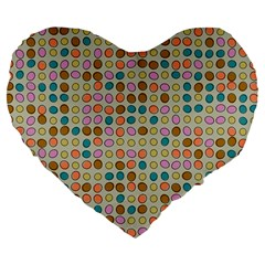 Retro Dots Pattern Large 19  Premium Heart Shape Cushion by LalyLauraFLM