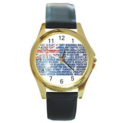 Australia Place Names Flag Round Gold Metal Watches by theimagezone