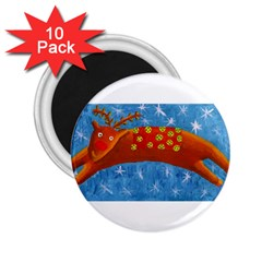 Rudolph The Reindeer 2 25  Magnets (10 Pack)  by julienicholls