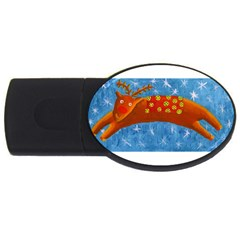 Rudolph The Reindeer Usb Flash Drive Oval (2 Gb)  by julienicholls