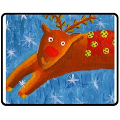 Rudolph The Reindeer Double Sided Fleece Blanket (Medium)  by julienicholls