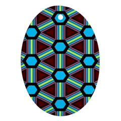 Stripes And Hexagon Pattern Oval Ornament (two Sides) by LalyLauraFLM