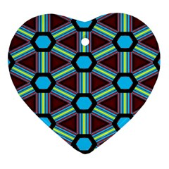Stripes And Hexagon Pattern Heart Ornament (two Sides) by LalyLauraFLM
