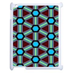 Stripes And Hexagon Pattern Apple Ipad 2 Case (white) by LalyLauraFLM