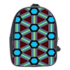 Stripes And Hexagon Pattern School Bag (xl) by LalyLauraFLM