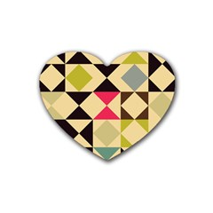 Rhombus And Triangles Pattern Rubber Coaster (heart) by LalyLauraFLM