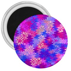 Pink And Purple Marble Waves 3  Magnets by KirstenStar