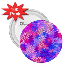 Pink And Purple Marble Waves 2 25  Buttons (100 Pack)  by KirstenStar
