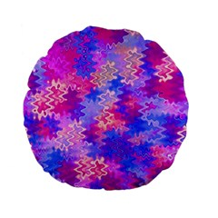 Pink And Purple Marble Waves Standard 15  Premium Flano Round Cushions by KirstenStar