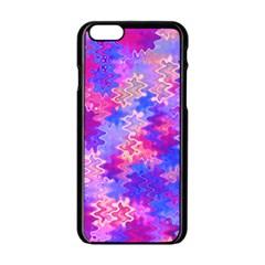 Pink And Purple Marble Waves Apple Iphone 6 Black Enamel Case by KirstenStar