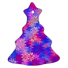 Pink And Purple Marble Waves Ornament (christmas Tree)