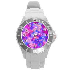 Pink And Purple Marble Waves Round Plastic Sport Watch (l) by KirstenStar