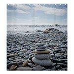 Gray Stacking Stones Zen Balance - Shower Curtain 66  x 72  (Large)