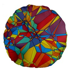 Colorful Miscellaneous Shapes Large 18  Premium Round Cushion  by LalyLauraFLM