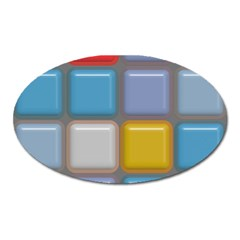 Shiny Squares Pattern Magnet (oval) by LalyLauraFLM