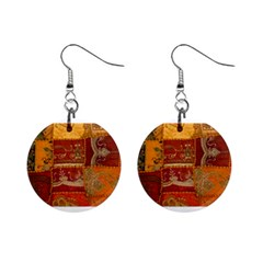 India Print Realism Fabric Art Mini Button Earrings by TheWowFactor