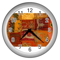 India Print Realism Fabric Art Wall Clocks (silver)  by TheWowFactor