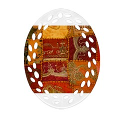 India Print Realism Fabric Art Oval Filigree Ornament (2 Side)  by TheWowFactor