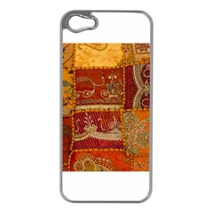 India Print Realism Fabric Art Apple Iphone 5 Case (silver) by TheWowFactor