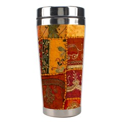 India Print Realism Fabric Art Stainless Steel Travel Tumblers by TheWowFactor