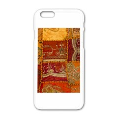 India Print Realism Fabric Art Apple Iphone 6 White Enamel Case by TheWowFactor