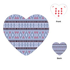 Fancy Tribal Border Pattern Blue Playing Cards (heart)  by ImpressiveMoments
