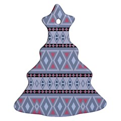 Fancy Tribal Border Pattern Blue Christmas Tree Ornament (2 Sides) by ImpressiveMoments