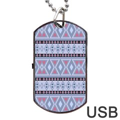 Fancy Tribal Border Pattern Blue Dog Tag Usb Flash (one Side) by ImpressiveMoments